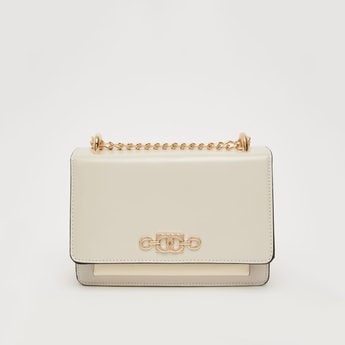 Solid Crossbody Bag with Metallic Chain and Magnetic Snap Closure