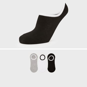 Pack of 3 - Solid No Show Socks with Elasticised Hem