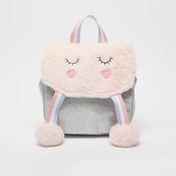 Embroidered Fur Backpack with Adjustable Shoulder Straps