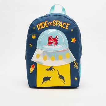 Graphic Print Backpack with Adjustable Straps and Applique Detail