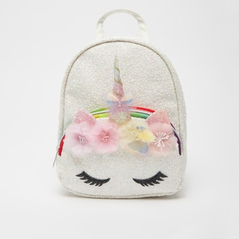 Unicorn Applique Detail Fur Backpack with Shoulder Straps