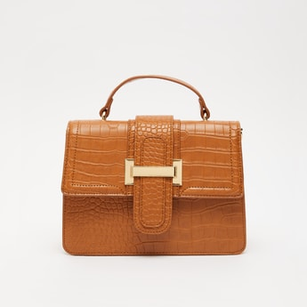 Textured Crossbody Bag with Detachable Strap and Flap Closure