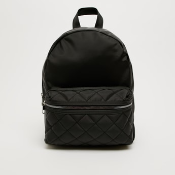 Solid Backpack with Quilted Front Pocket