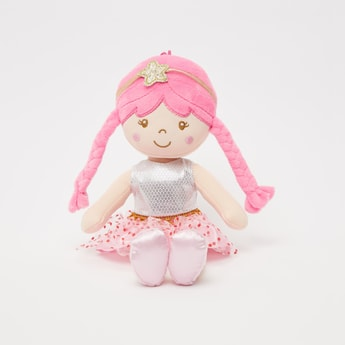 Doll Soft Toy in Polka Dot Skirt and Braided Hair