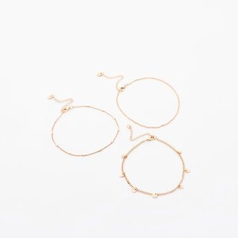Set of 3 - Assorted Metallic Anklets with Lobster Clasp Closure