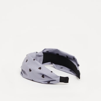 All-Over Heart Print Hairband with Knot Detail