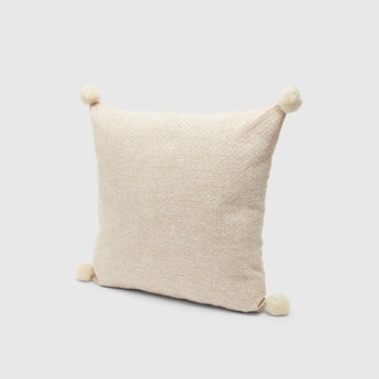 Textured Filled Cushion with Pom-Poms - 45x45 cms
