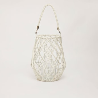 Textured Candle Holder Lantern with Strap