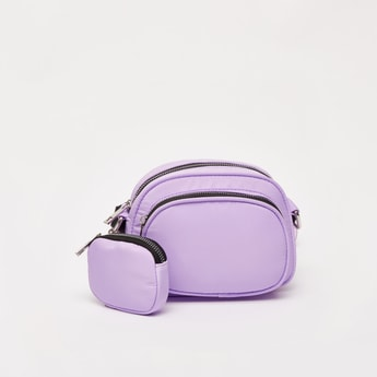 Solid Crossbody Bag with Detachable Pouch