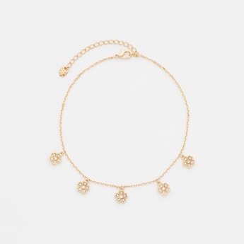 Crystal Studded Anklet with Floral Charms