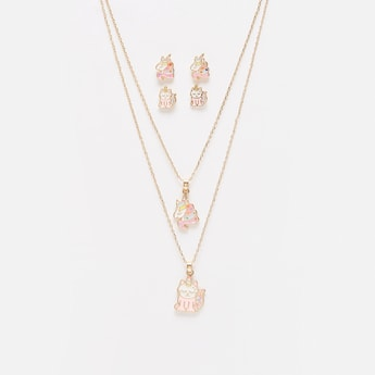 Set of 2 - Metallic Pendant Necklace and Earrings