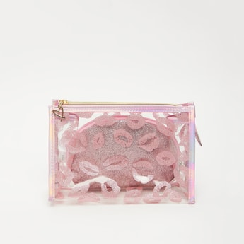 Embellished 2-Piece Zippered Pouch Set