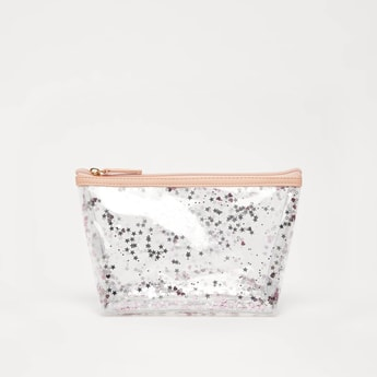 All-Over Print Transparent Pouch with Zip Closure