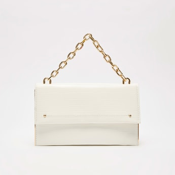 Textured Crossbody Bag with Magnetic Snap Closure