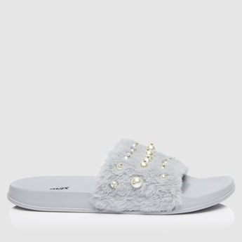 Pearl Embellished Plush Slide Slippers