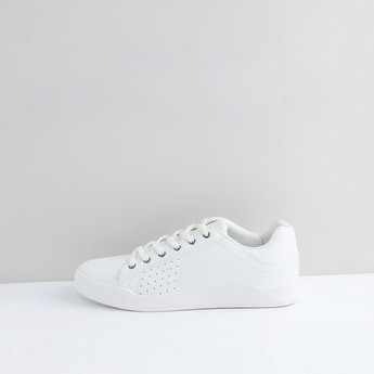 Perforated Lace-Up Sports Shoes with Stitch Detail