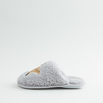 Sequin Detail Plush Slippers