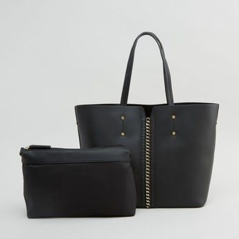 Textured Handbag and Pouch with Zip Closure