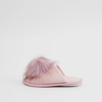 Pom Pom Detail Slip On Bedroom Slippers