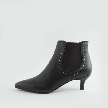 Studded Boots with Kitten Heels