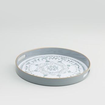 Printed Round Serving Tray with Cutout Handles