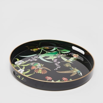 Bird Printed Round Serving Tray
