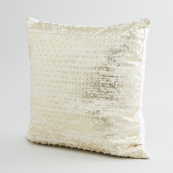 Embellished Filled Cushion with Zip Closure - 45x45 cms