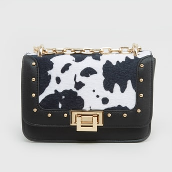 Printed Satchel Bag with Metallic Lock
