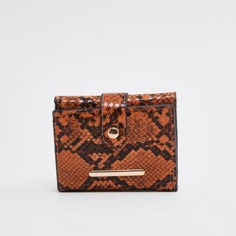 Textured Wallet with Press Button Closure