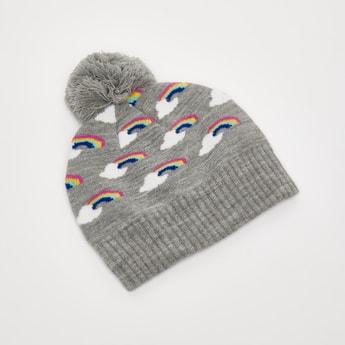 Rainbow Print Beanie Cap with Pom Pom Applique