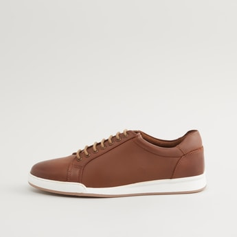 Plain Sneakers with Lace-Up Closure