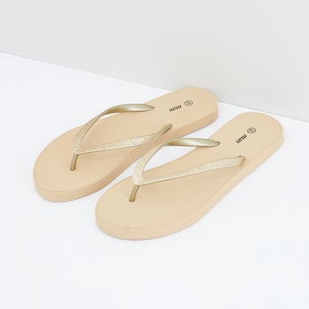 Textured Flip Flops with Glitter Straps
