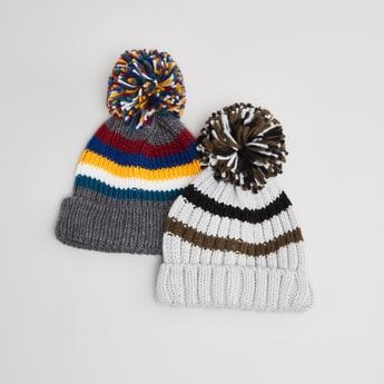 Set of 2 - Striped Beanie Caps with Pom Pom Applique