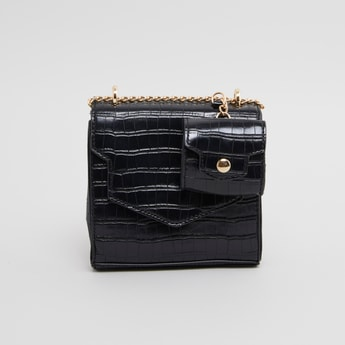 Textured Satchel Bag with Button Closure
