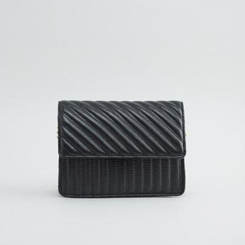 Textured Satchel Bag with Metallic Shoulder Chain