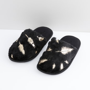 Textured Slippers with Slip-On Closure