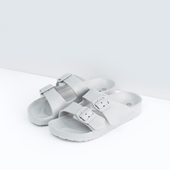 Textured Slides with Pin Buckle Closure