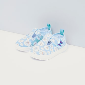 Printed Butterfly Embellished Canvas Shoes with Velcro Closure