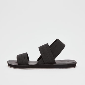 Textured Slip-On Sandals with Slingback
