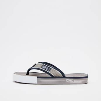 Textured Flip Flops with Wide Straps