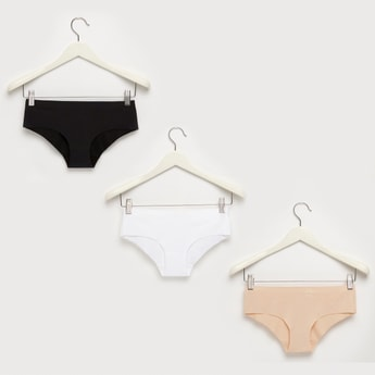 Set of 3 - Solid Bikini Briefs with Elasticised Waistband