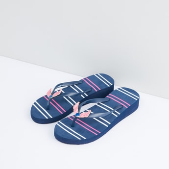 Striped Flip Flops with Applique Detail Straps