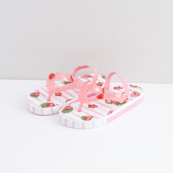 Printed Flip Flops with Elasticised Slingback