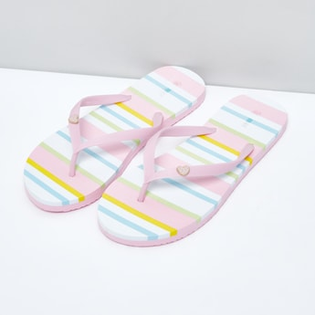 Striped Flip Flops with Heart Applique Detail Straps