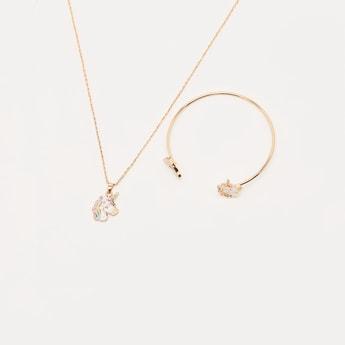 Unicorn Pendant Necklace and Open Cuff Bracelet Set