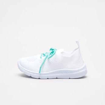 Textured Sneakers with Lace-Up Closure and Pull Tab