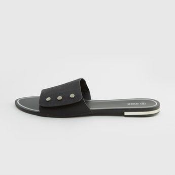 Textured Flat Sandals with Slip-On Styling