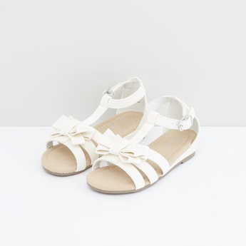 Bow Applique Sandals with Pin Buckle Closure
