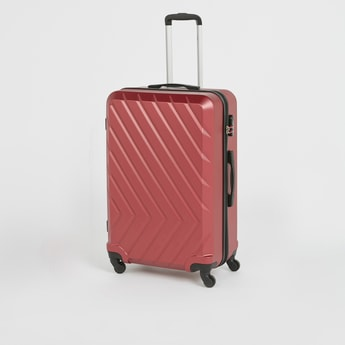 Textured Hard Case Trolley Bag with Retractable Handle and Wheels - 50x74 cms