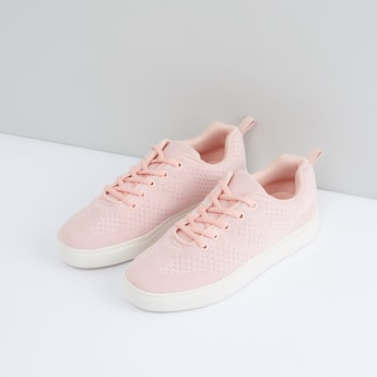 Mesh Detail Lace-Up Shoes